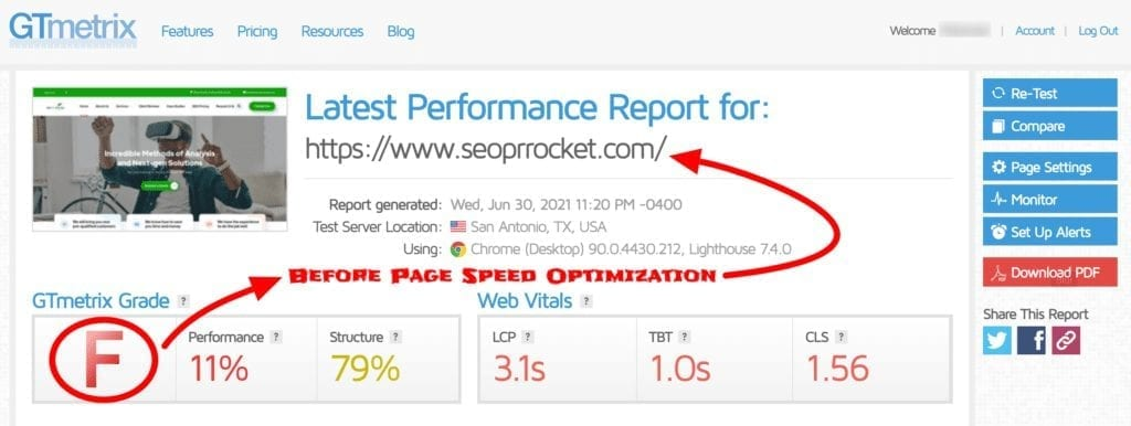 Before Page speed Optimization Maryland